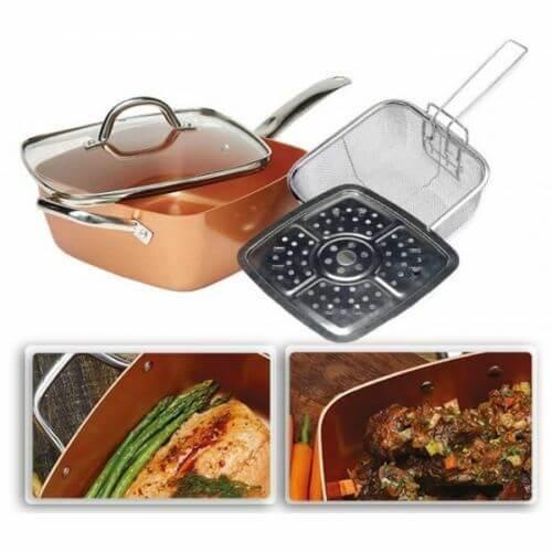 PACK sarten cuadrada tapa rejilla freir cazuela antiadherente cerámica cobre Copper Chef