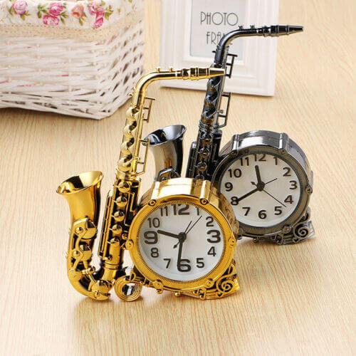 Reloj despertador saxofón analógico estilo clásico alarma saxo regalo decora sax 3