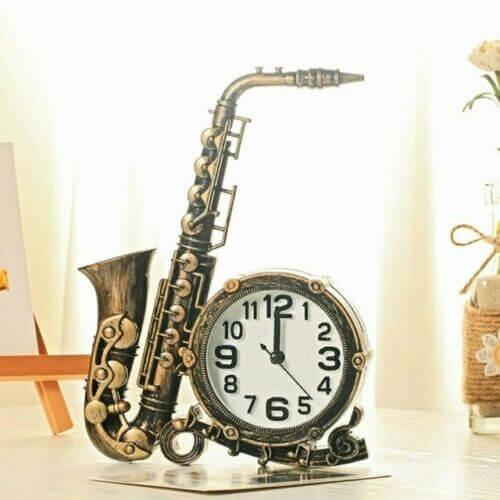Reloj despertador saxofón analógico estilo clásico alarma saxo regalo decora sax