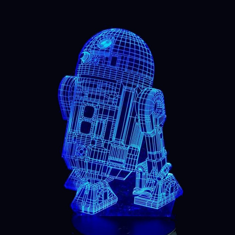 lampara 3d r2d2 star wars azul