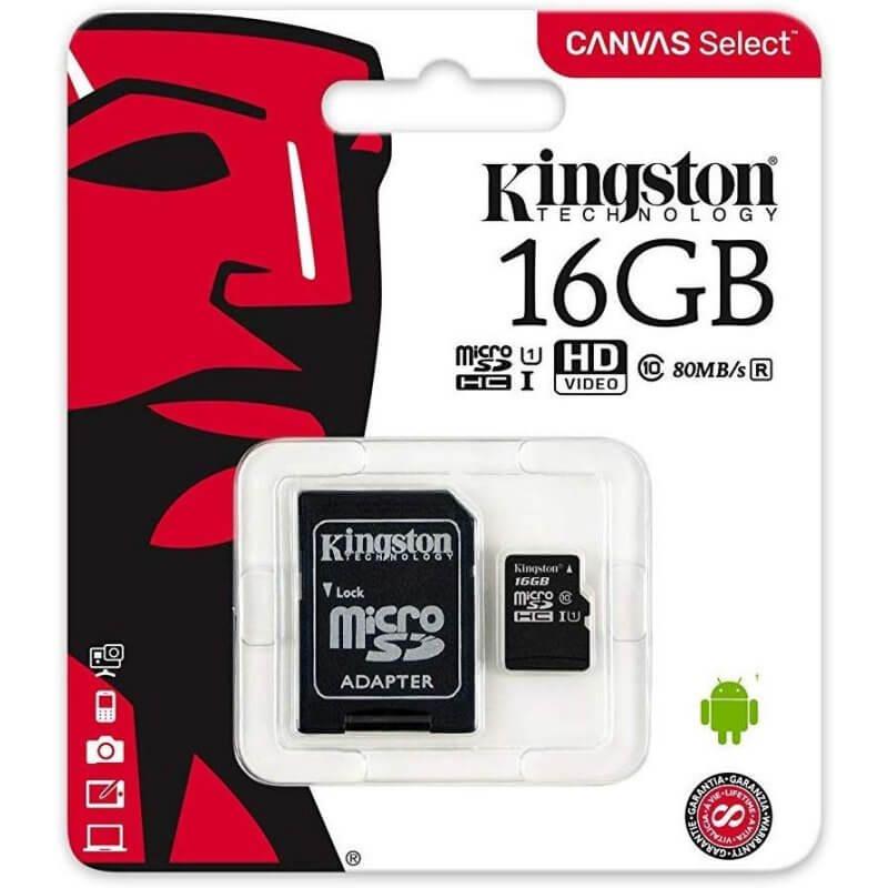 Tarjeta de memoria micro SD 16gb clase 10 kingston