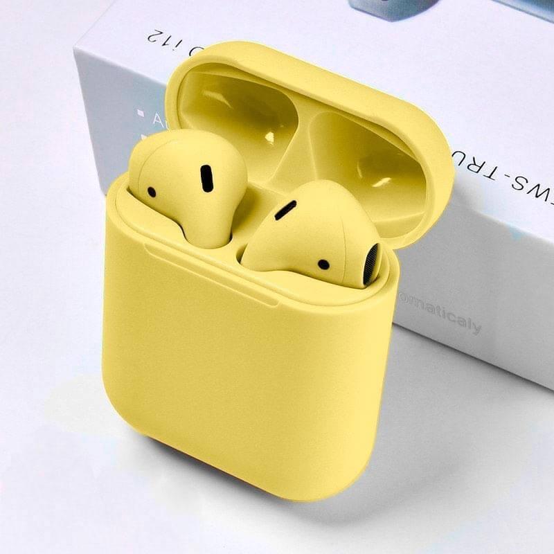 auriculares i12 tws colores amarillo ipods bluetooth